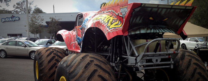 The War Wizard Monster Truck Visits Autoline!!!