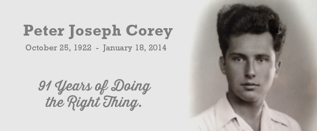 Peter J. Corey – 91 Years of Doing the Right Thing